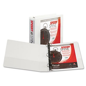 "Speedy Spine Heavy-Duty Time Saving Round Ring View Binder, 3 Rings, 2"" Capacity, 11 x 8.5, White"