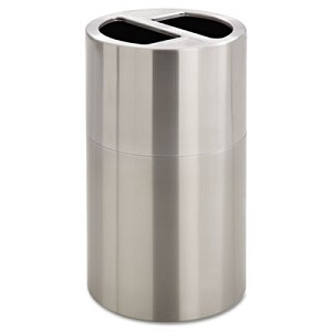 Dual Recycling Receptacle, 30 gal, Stainless Steel
