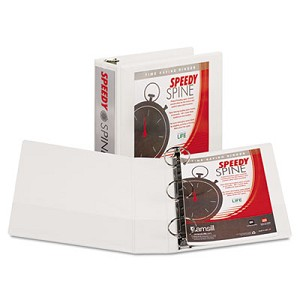 "Speedy Spine Heavy-Duty Time Saving Round Ring View Binder, 3 Rings, 3"" Capacity, 11 x 8.5, White"