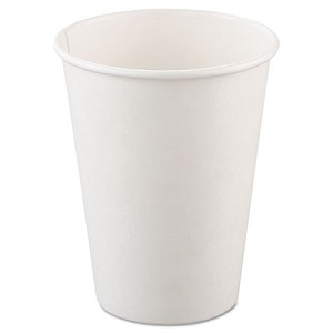 Single-Sided Poly Paper Hot Cups, 12oz, White, 50/Bag, 20 Bags/Carton