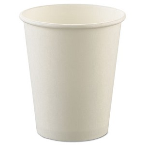 Uncoated Paper Cups, Hot Drink, 8oz, White, 1000/Carton
