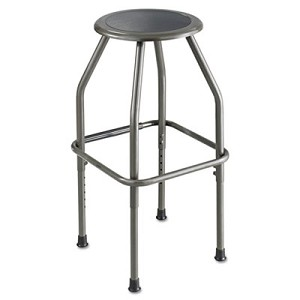 "Diesel Industrial Stool with Stationary Seat, 30"" Seat Height, Supports up to 250 lbs., Pewter Seat/Pewter Back, Pewter Base"