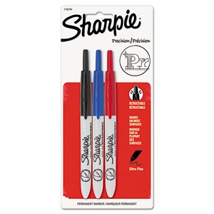 Retractable Permanent Marker, Extra-Fine Needle Tip, Assorted Colors, 3/Set