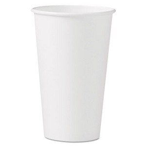 Polycoated Hot Paper Cups, 16 oz, White