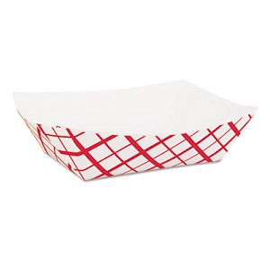 Paper Food Baskets, 1lb, Red/White, 1000/Carton