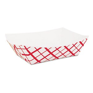 Paper Food Baskets, 2 lb Capacity, Red/White, 1,000/Carton