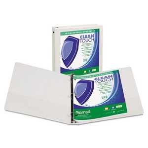 "Clean Touch Round Ring View Binder Protected w/Antimicrobial Additive, 3 Rings, 4"" Capacity, 11 x 8.5, White"