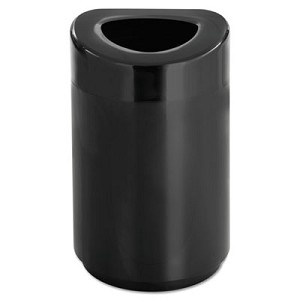 Open Top Round Waste Receptacle, Steel, 30 gal, Black