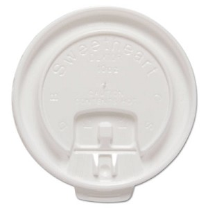Lift Back and Lock Tab Cup Lids for Foam Cups, Fits 10 oz Trophy Cups, White, 100/Pack