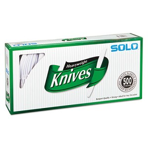 "Heavyweight Plastic Cutlery, Knives, White, 7"", 500/Carton"
