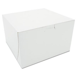 Tuck-Top Bakery Boxes, Paperboard, White, 8 x 8 x 5