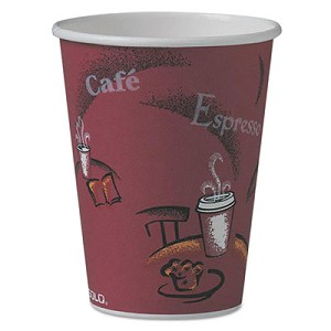 Solo Bistro Design Hot Drink Cups, Paper, 12oz, Maroon, 50/Pack