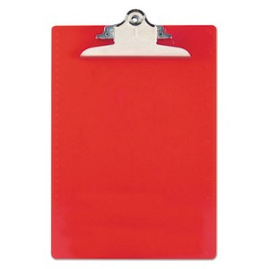 "Recycled Plastic Clipboard with Ruler Edge, 1"" Clip Cap, 8 1/2 x 12 Sheets, Red"