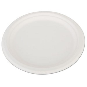 "ChampWare Heavyweight Bagasse Dinnerware, Plate, 10"", White, 500/Carton"