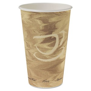 Mistique Hot Paper Cups, 16oz, Brown, 50/Sleeve, 20 Sleeves/Carton