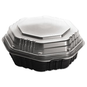 OctaView Hinged-Lid Hot Food Containers, 31 oz, 9.55 x 9.1 x 3, Black/Clear, 100/Carton