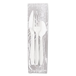 Reliance Medium Heavy Weight Cutlery Kit: Knife/Fork/Spoon, White, 500 Packs/CT