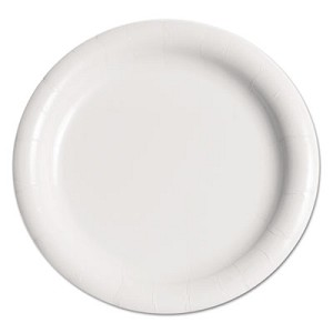 Bare Eco-Forward Clay-Coated Paper Plate, 9  ,, WH, Rnd, Mdmwgt, 125/Pk, 4 PK/CT