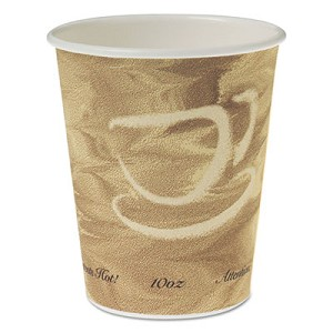 Single Sided Poly Paper Hot Cups, 10 OZ, Mistique design, 50/Bag, 20 Bags/Carton