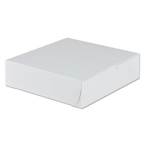 Tuck-Top Bakery Boxes, 9w x 9d x 2 1/2h, White, 250/Carton