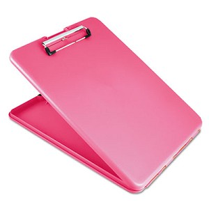 "SlimMate Storage Clipboard, 1/2"" Clip Capacity, Holds 8 1/2 x 11 Sheets, Pink"