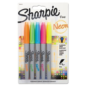 Neon Permanent Markers, Fine Bullet Tip, Assorted Colors, 5/Pack