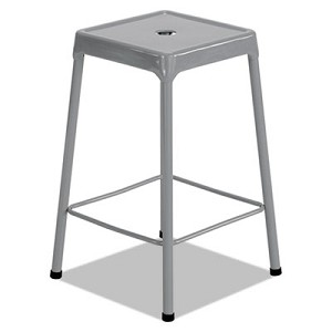"Counter-Height Steel Stool, 25"" Seat Height, Supports up to 250 lbs., Silver Seat/Silver Back, Silver Base"