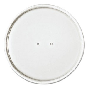 "Paper Lids for 32oz Food Containers, White, Vented, 4.6""Dia, 25/Bag, 20 Bg/Ctn"