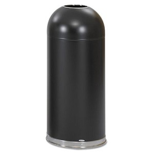 Open-Top Dome Receptacle, Round, Steel, 15 gal, Black