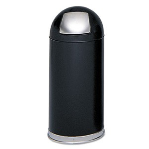 Dome Receptacle with Spring-Loaded Door, Round, Steel, 15 gal, Black
