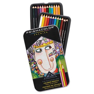 Premier Colored Pencil, 3 mm, 2B (#1), Assorted Lead/Barrel Colors, 24/Pack