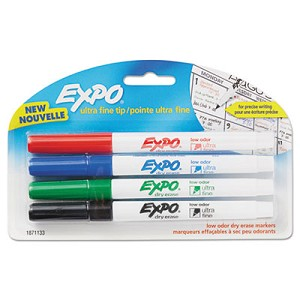 Low-Odor Dry-Erase Marker, Extra-Fine Needle Tip, Assorted Colors, 4/Pack