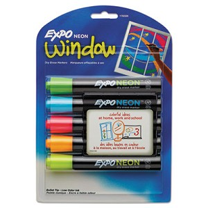 Neon Windows Dry Erase Marker, Broad Bullet Tip, Assorted Colors, 5/Pack