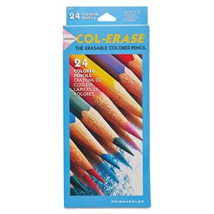 Col-Erase Pencil with Eraser, 0.7 mm, 2B (#1), Assorted Lead/Barrel Colors, 24/Pack