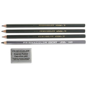 Scholar Graphite Pencil Set, 2 mm, Assorted Lead Hardness Ratings, Black Lead, Dark Green Barrel, 4/Set