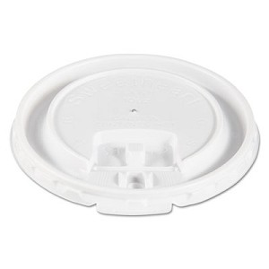 Lift Back and Lock Tab Cup Lids for Foam Cups, Fits 10 oz Trophy Cups, White, 2000/Carton