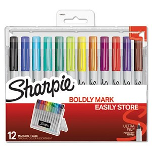 Permanent Markers w/Storage Case, Extra-Fine Needle Tip, Assorted Colors, Dozen