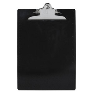 "Recycled Plastic Clipboard with Ruler Edge, 1"" Clip Cap, 8 1/2 x 12 Sheet, Black"