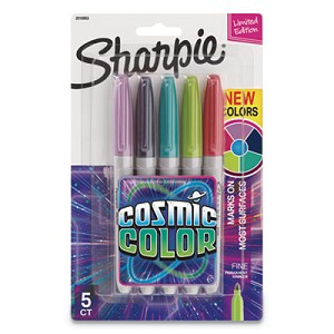 Cosmic Color Permanent Markers, Medium Bullet Tip, Assorted Colors, 5/Pack