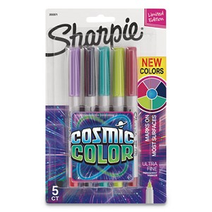 Cosmic Color Permanent Markers, Extra-Fine Needle Tip, Assorted Colors, 5/Pack