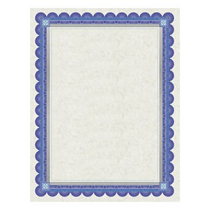 Parchment Certificates, Academic, Ivory with Blue and Silver-Foil Border, 8 1/2 x 11, 15/Pack