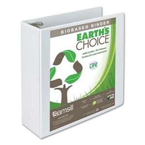 "Earth's Choice Biobased Round Ring View Binder, 3 Rings, 4"" Capacity, 11 x 8.5, White"