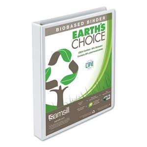 "Earth's Choice Biobased Round Ring View Binder, 3 Rings, 1"" Capacity, 11 x 8.5, White"