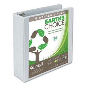 "Earth's Choice Biobased Round Ring View Binder, 3 Rings, 3"" Capacity, 11 x 8.5, White"