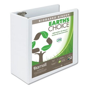 "Earth's Choice Biobased Round Ring View Binder, 3 Rings, 5"" Capacity, 11 x 8.5, White"