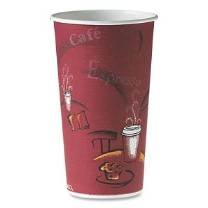 Polycoated Hot Paper Cups, 20 oz, Bistro Design, 600/Carton
