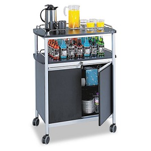Mobile Beverage Cart, 33.5w x 21.75d x 43h, Black