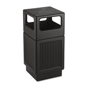 Canmeleon Side-Open Receptacle, Square, Polyethylene, 38 gal, Textured Black