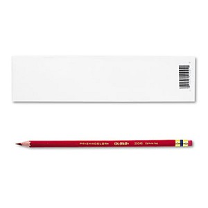 Col-Erase Pencil with Eraser, 0.7 mm, 2B (#1), Carmine Red Lead, Carmine Red Barrel, Dozen