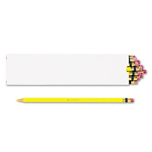 Col-Erase Pencil with Eraser, 0.7 mm, 2B (#1), Yellow Lead, Yellow Barrel, Dozen